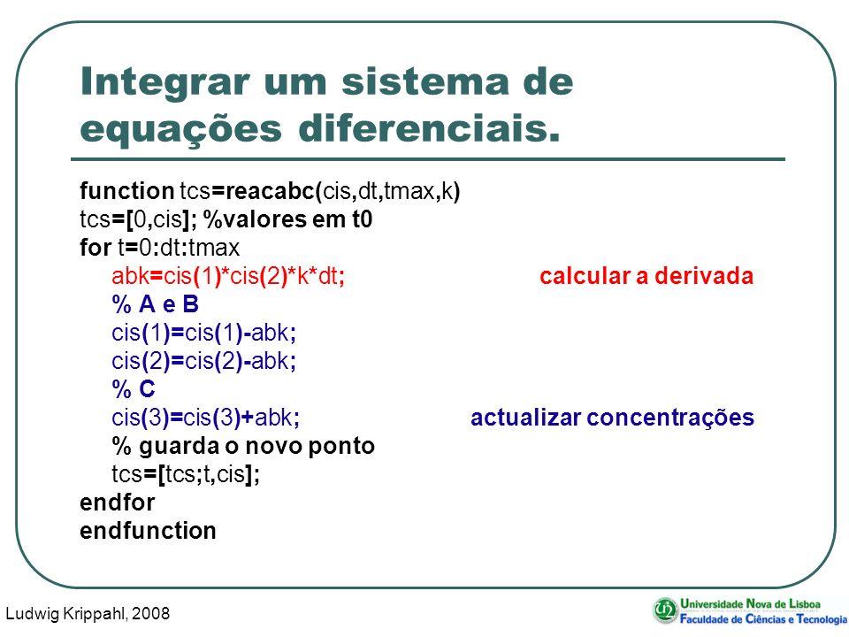 Ludwig Krippahl, 2008 45 Integrar um sistema de equações diferenciais.