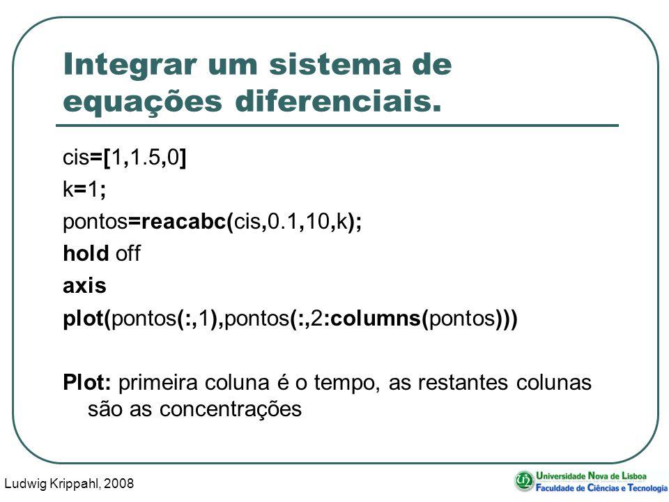 Ludwig Krippahl, 2008 46 Integrar um sistema de equações diferenciais.