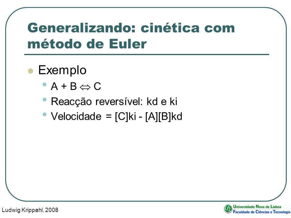 Ludwig Krippahl, 2008 48 Generalizando: cinética com método de Euler Exemplo A + B C Reacção reversível: kd e ki Velocidade = [C]ki - [A][B]kd