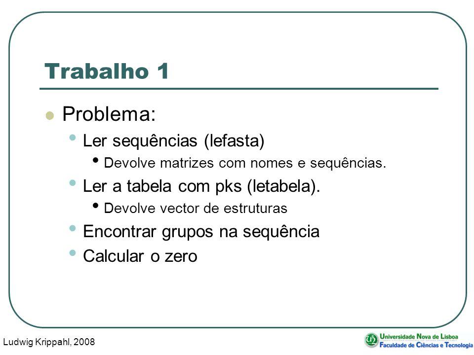 Ludwig Krippahl, 2008 6 Trabalho 1 Problema: Ler sequências (lefasta) Devolve matrizes com nomes e sequências.