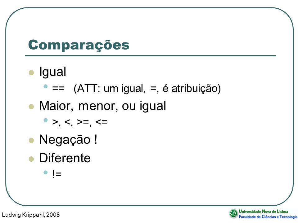 Ludwig Krippahl, 2008 14 Comparações Igual == (ATT: um igual, =, é atribuição) Maior, menor, ou igual >, =, <= Negação .