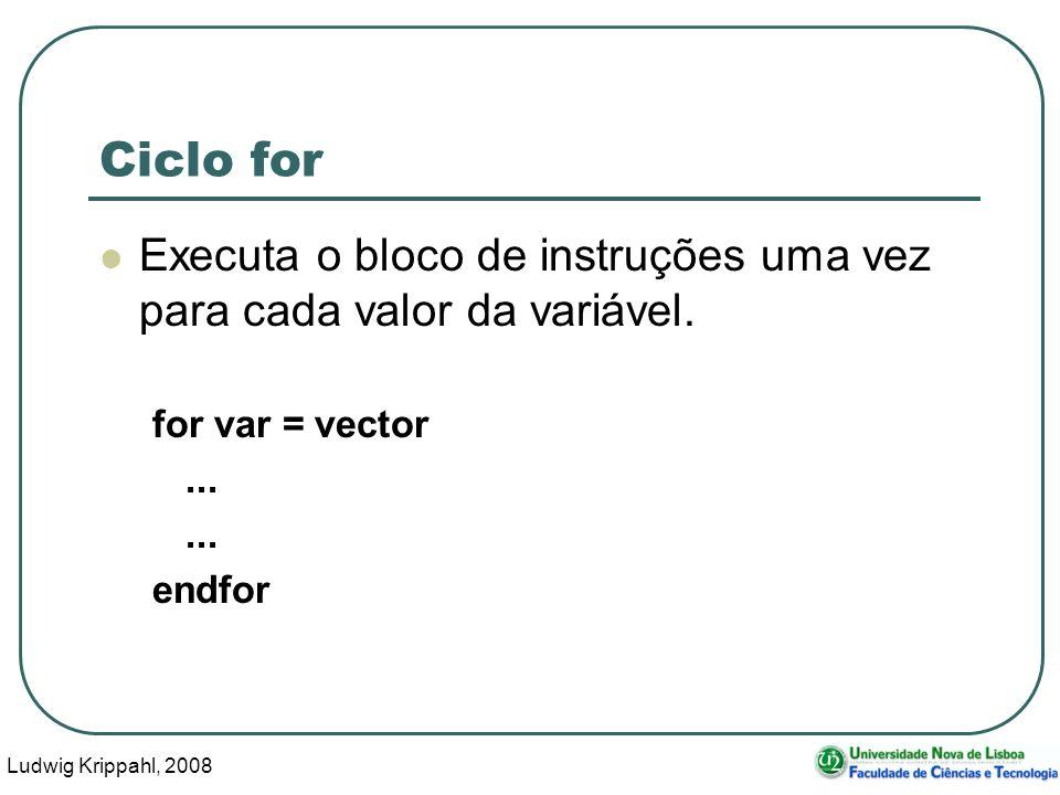 Ludwig Krippahl, 2008 26 Ciclo for Executa o bloco de instruções uma vez para cada valor da variável.