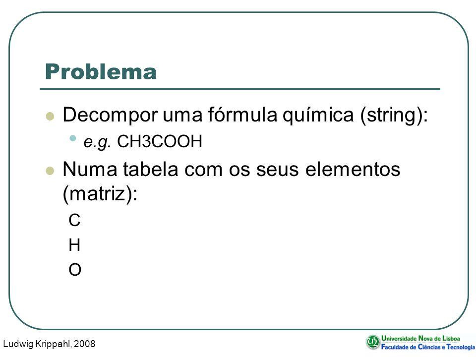 Ludwig Krippahl, 2008 30 Problema Decompor uma fórmula química (string): e.g.
