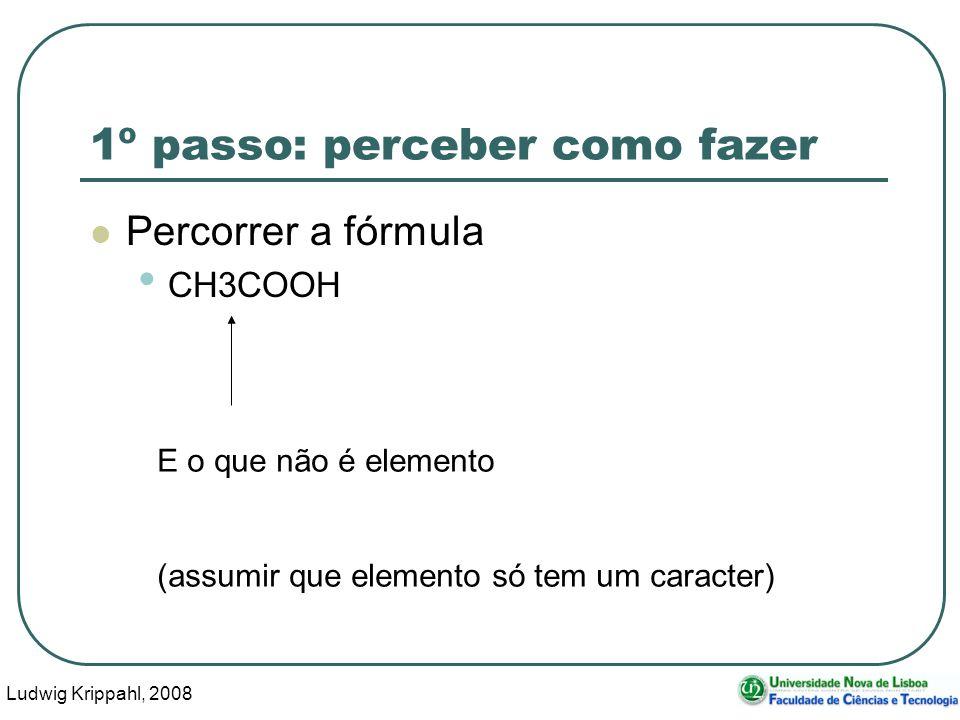 Ludwig Krippahl, 2008 32 1º passo: perceber como fazer Percorrer a fórmula CH3COOH E o que não é elemento (assumir que elemento só tem um caracter)