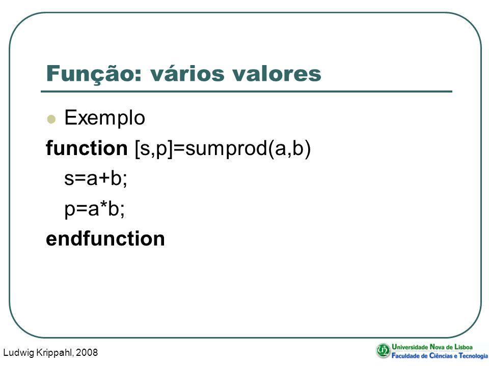 Ludwig Krippahl, 2008 42 Função: vários valores Exemplo function [s,p]=sumprod(a,b) s=a+b; p=a*b; endfunction