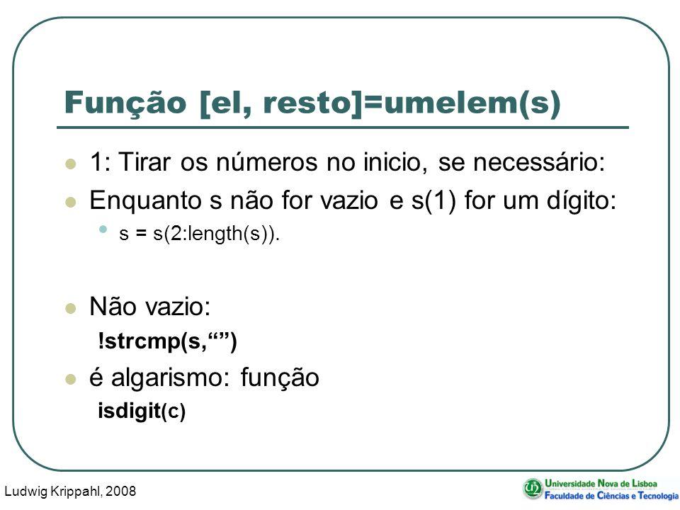 Ludwig Krippahl, 2008 44 Função [el, resto]=umelem(s) 1: Tirar os números no inicio, se necessário: Enquanto s não for vazio e s(1) for um dígito: s = s(2:length(s)).