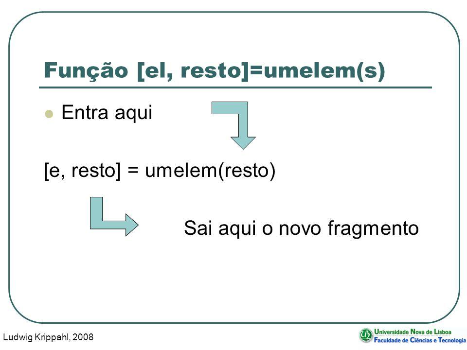 Ludwig Krippahl, 2008 50 Função [el, resto]=umelem(s) Entra aqui [e, resto] = umelem(resto) Sai aqui o novo fragmento