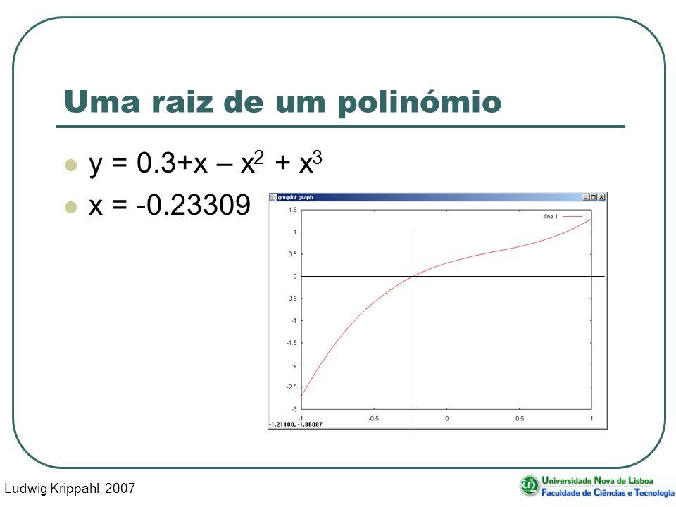 Ludwig Krippahl, 2007 21 Uma raiz de um polinómio y = 0.3+x – x 2 + x 3 x = -0.23309