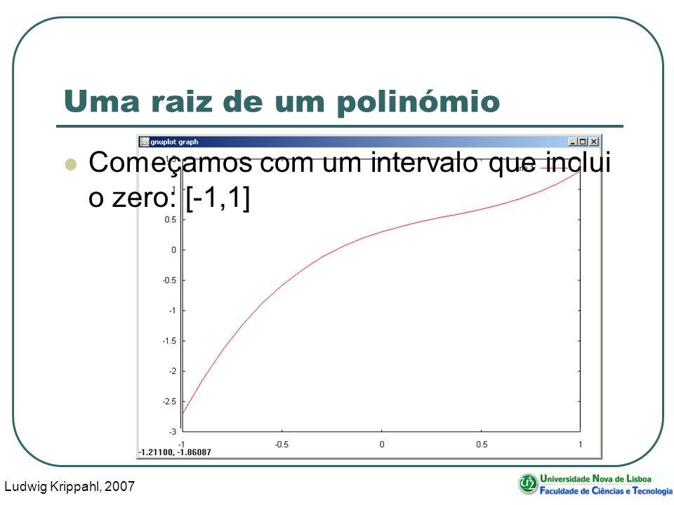 Ludwig Krippahl, 2007 22 Uma raiz de um polinómio Começamos com um intervalo que inclui o zero: [-1,1]