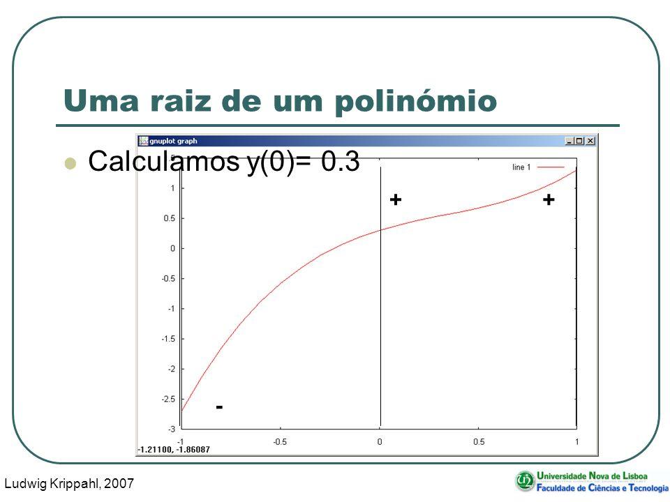 Ludwig Krippahl, 2007 25 - + Uma raiz de um polinómio Calculamos y(0)= 0.3 +