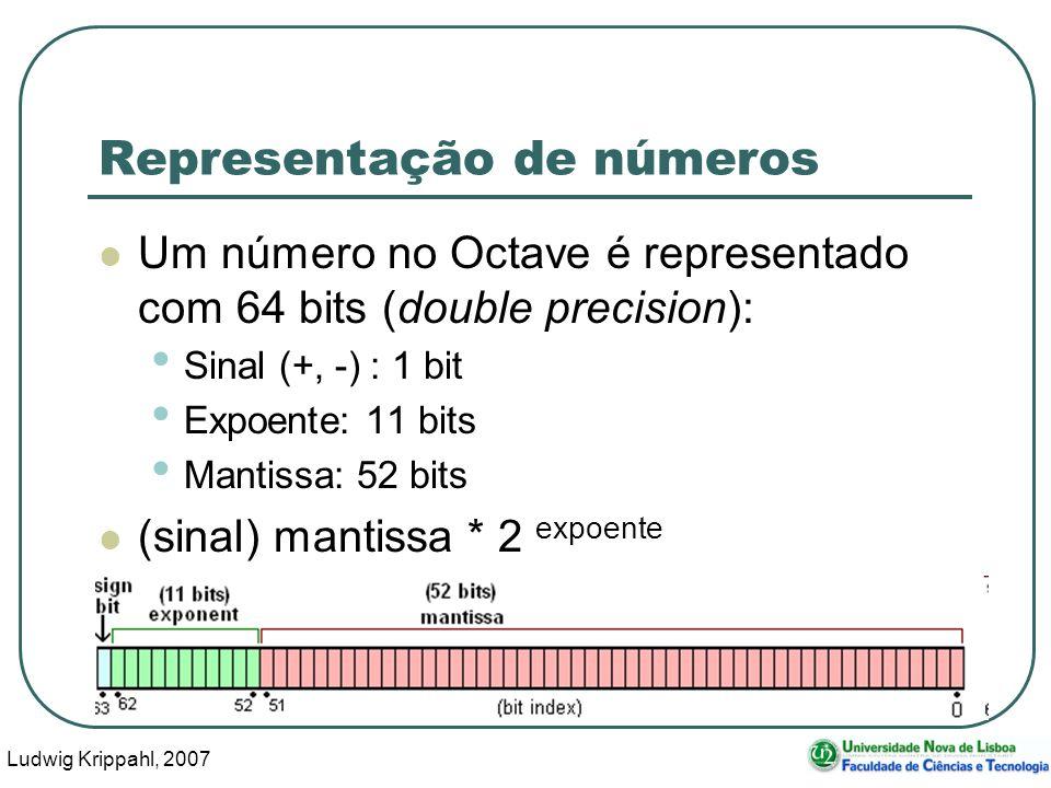 Ludwig Krippahl, 2007 32 Representação de números Um número no Octave é representado com 64 bits (double precision): Sinal (+, -) : 1 bit Expoente: 11 bits Mantissa: 52 bits (sinal) mantissa * 2 expoente