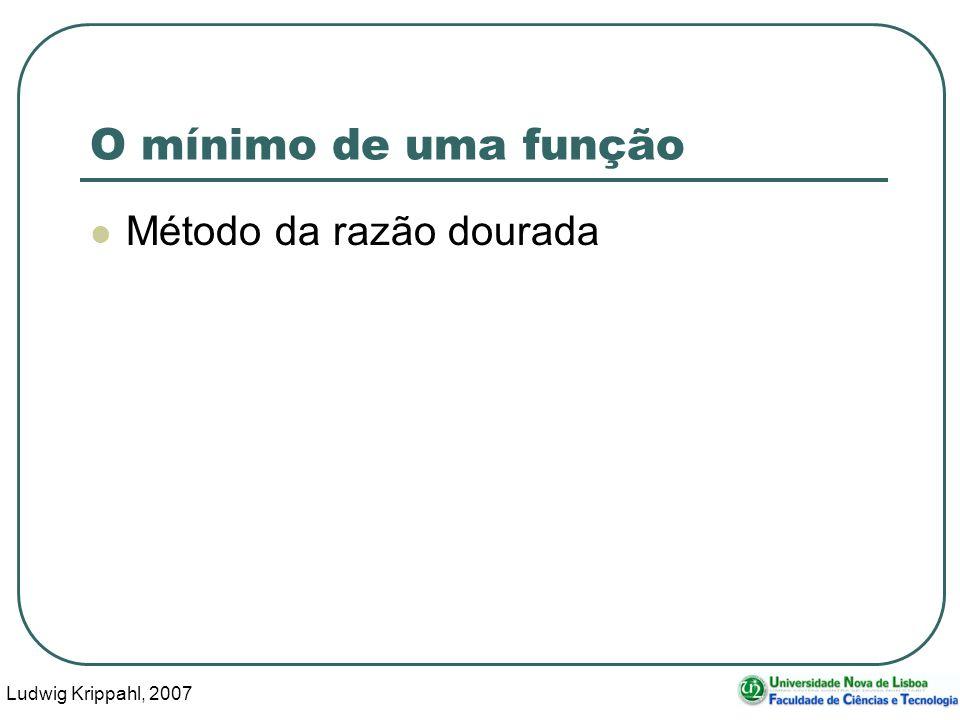 Ludwig Krippahl, 2007 41 O mínimo de uma função Método da razão dourada