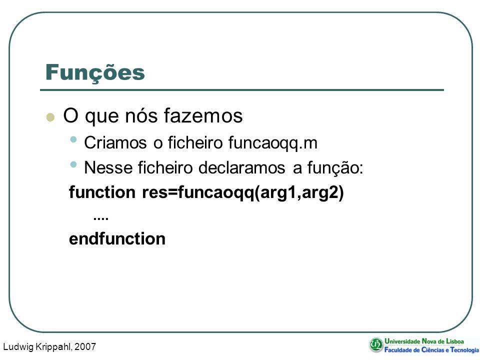 Ludwig Krippahl, 2007 36 O zero de uma função Suponhamos que uma função y=f(x) pode ser especificada por um vector de parâmetros (constantes) e pelo nome.