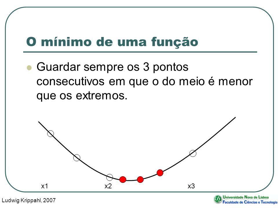 Ludwig Krippahl, 2007 53 O mínimo de uma função Guardar sempre os 3 pontos consecutivos em que o do meio é menor que os extremos.