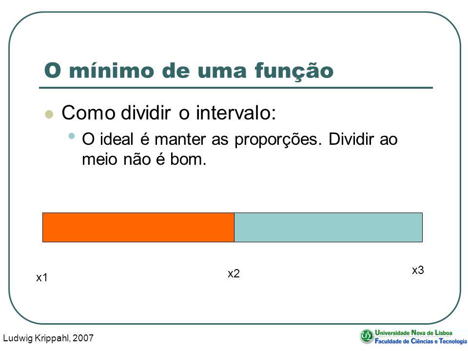 Ludwig Krippahl, 2007 54 O mínimo de uma função Como dividir o intervalo: O ideal é manter as proporções.