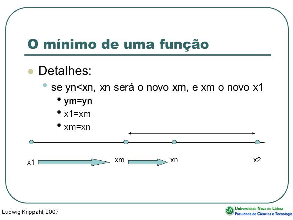 Ludwig Krippahl, 2007 60 O mínimo de uma função Detalhes: se yn<xn, xn será o novo xm, e xm o novo x1 ym=yn x1=xm xm=xn x1 x2 xmxn