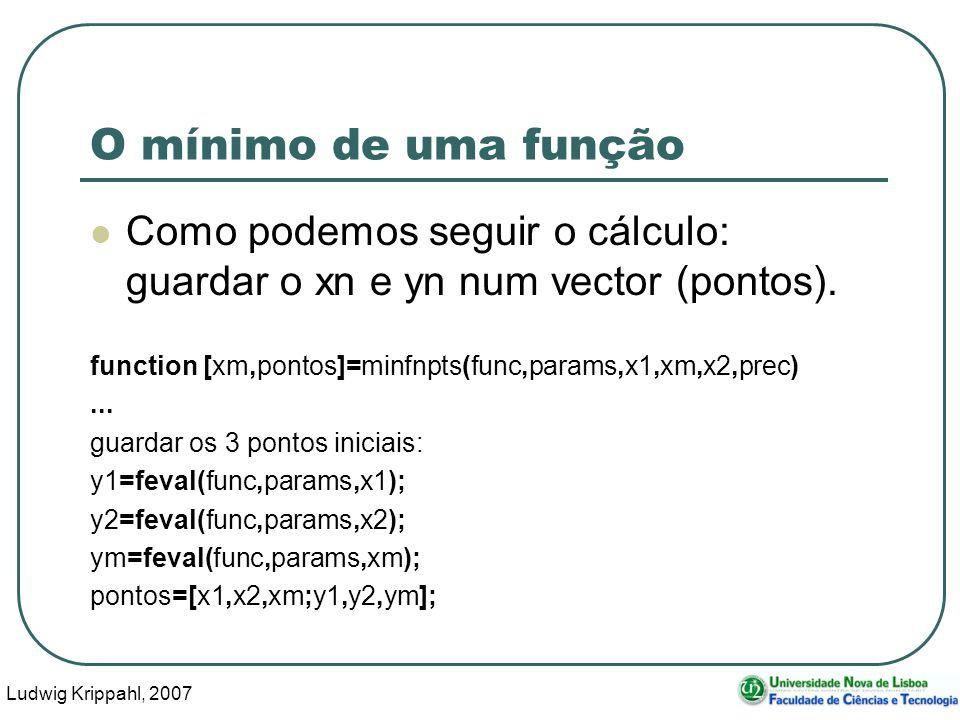 Ludwig Krippahl, 2007 63 O mínimo de uma função Como podemos seguir o cálculo: guardar o xn e yn num vector (pontos).