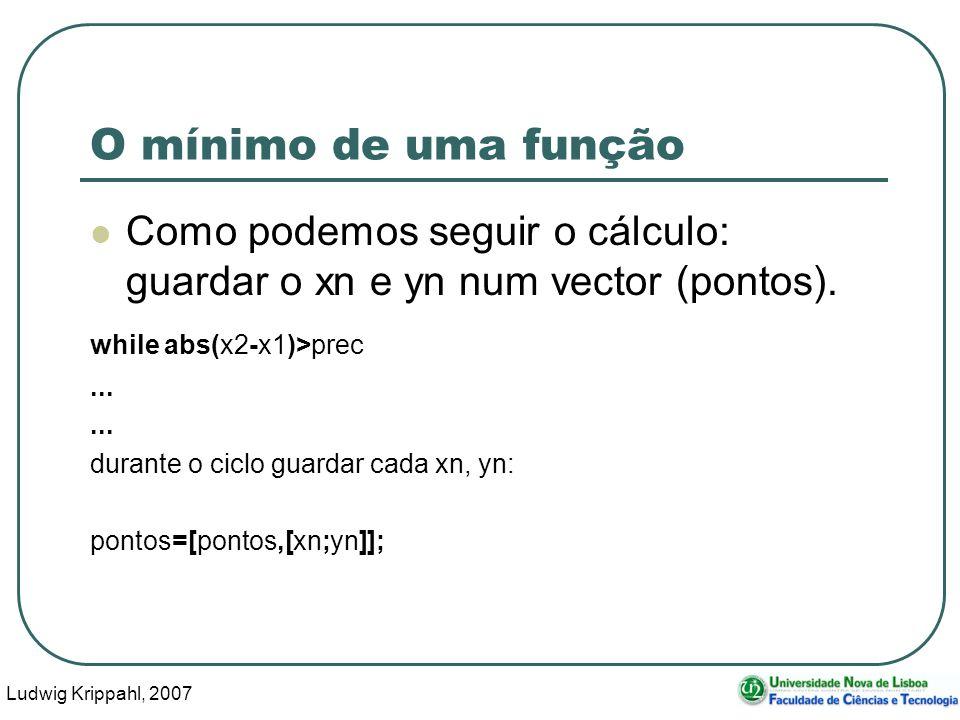 Ludwig Krippahl, 2007 64 O mínimo de uma função Como podemos seguir o cálculo: guardar o xn e yn num vector (pontos).