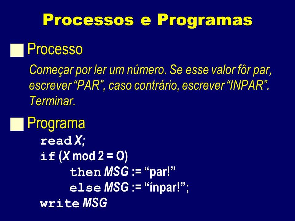 Processos e Programas Processo Começar por ler um número.