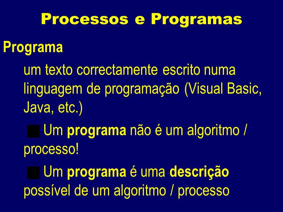 Processos e Programas Programa um texto correctamente escrito numa linguagem de programação (Visual Basic, Java, etc.) Um programa não é um algoritmo / processo.