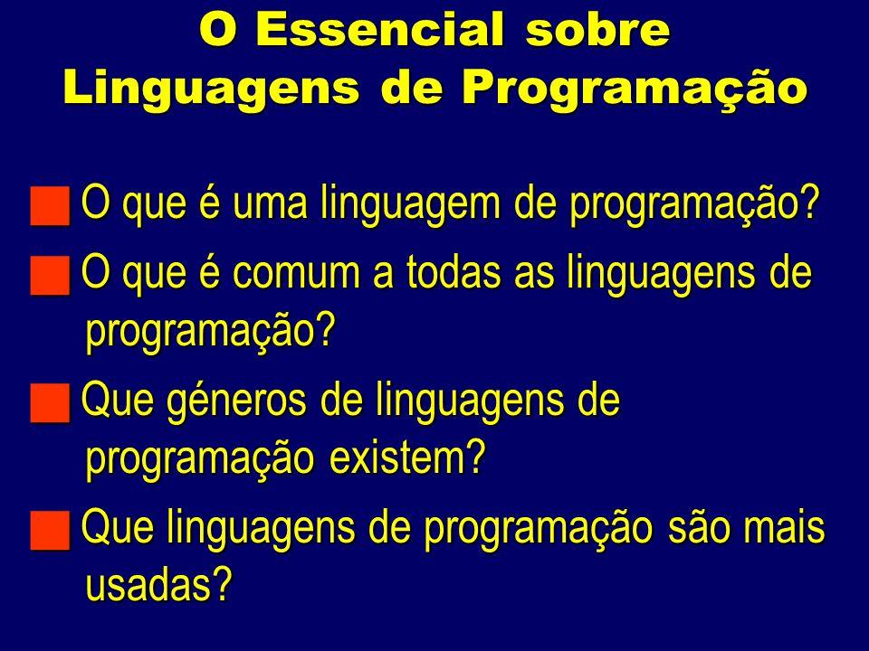 O Essencial sobre Linguagens de Programação O que é uma linguagem de programação.