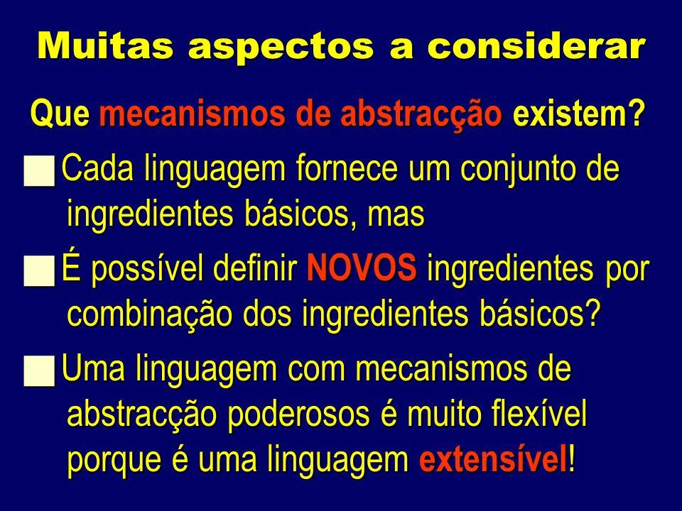 Muitas aspectos a considerar Que mecanismos de abstracção existem.