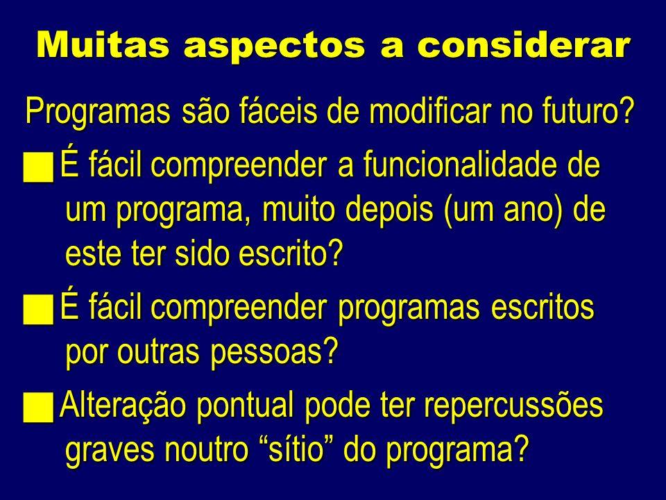 Muitas aspectos a considerar Programas são fáceis de modificar no futuro.