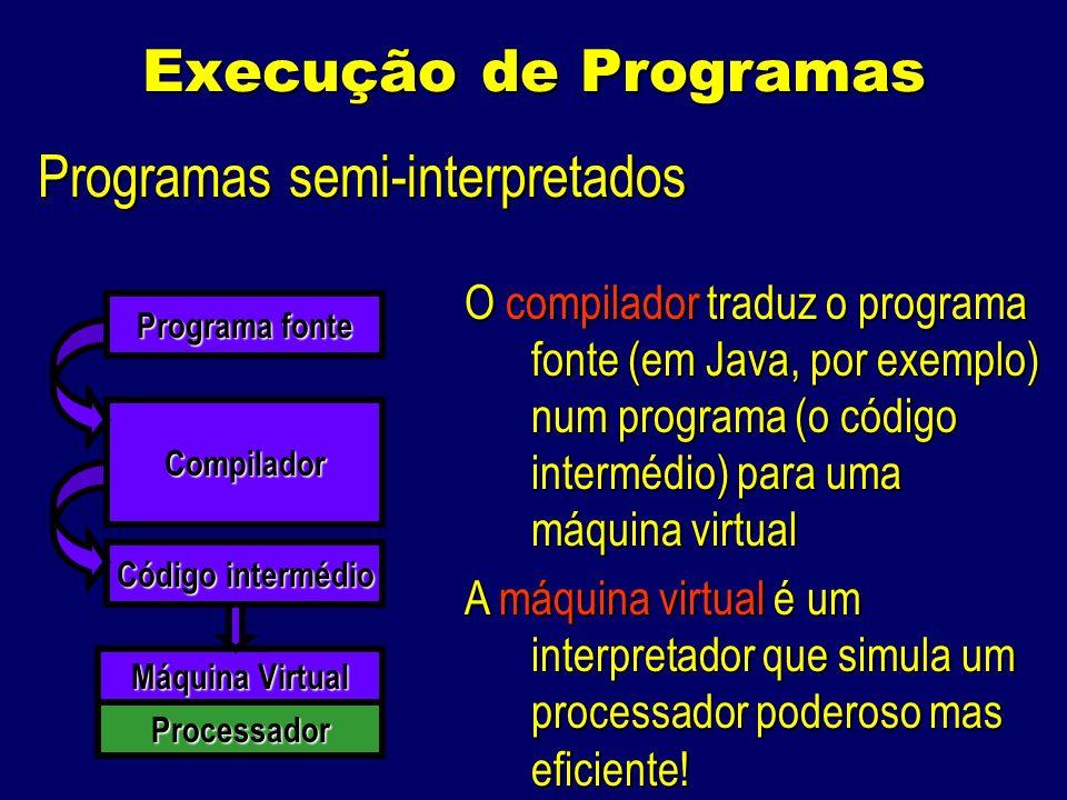 Execução de Programas Programas semi-interpretados Compilador Programa fonte Código intermédio Máquina Virtual O compilador traduz o programa fonte (em Java, por exemplo) num programa (o código intermédio) para uma máquina virtual A máquina virtual é um interpretador que simula um processador poderoso mas eficiente.