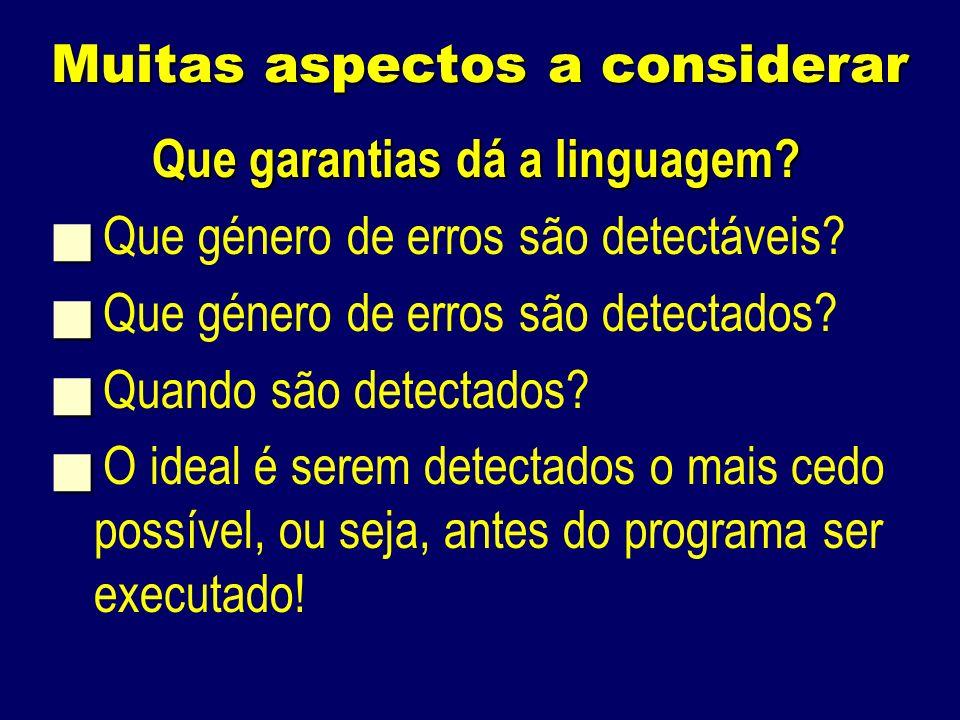 Muitas aspectos a considerar Que garantias dá a linguagem.