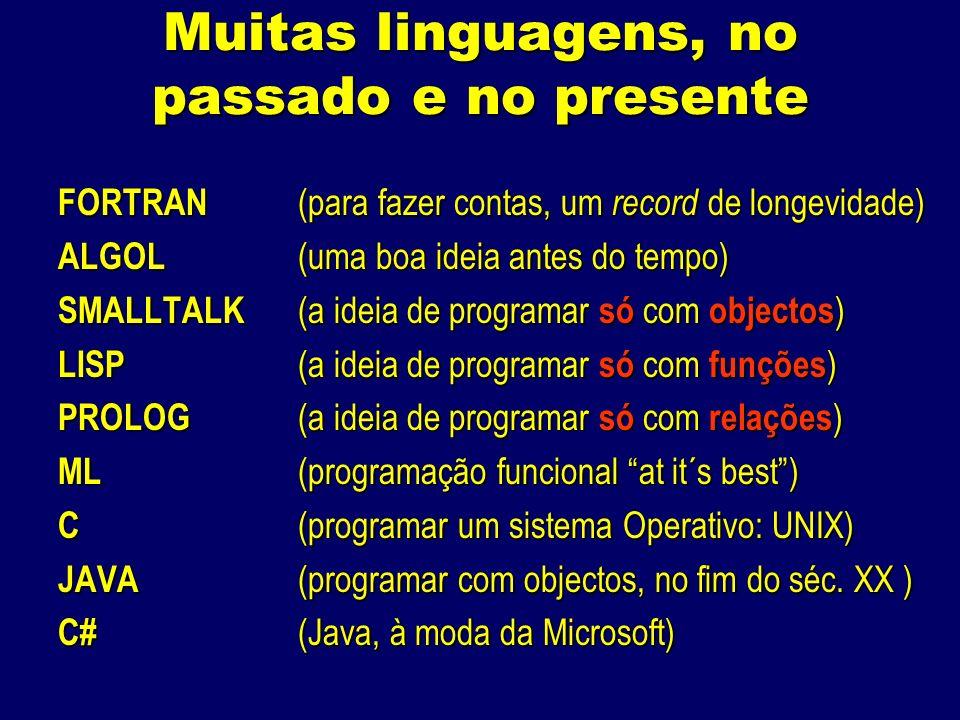 Muitas linguagens, no passado e no presente FORTRAN (para fazer contas, um record de longevidade) ALGOL (uma boa ideia antes do tempo) SMALLTALK (a ideia de programar só com objectos ) LISP (a ideia de programar só com funções ) PROLOG (a ideia de programar só com relações ) ML (programação funcional at it´s best) C (programar um sistema Operativo: UNIX) JAVA (programar com objectos, no fim do séc.