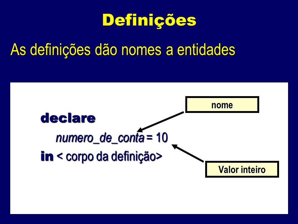 Definições As definições dão nomes a entidades declare numero_de_conta = 10 numero_de_conta = 10 in in nome Valor inteiro