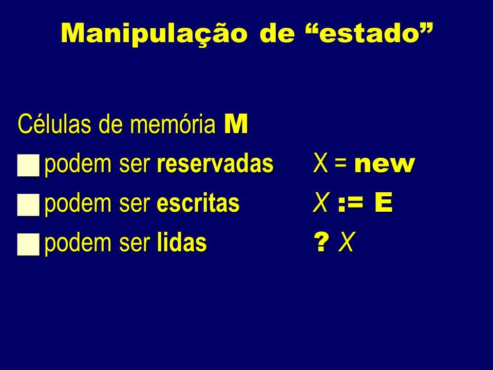 Manipulação de estado Células de memória M podem ser reservadas X = new podem ser reservadas X = new podem ser escritas X := E podem ser escritas X := E podem ser lidas .