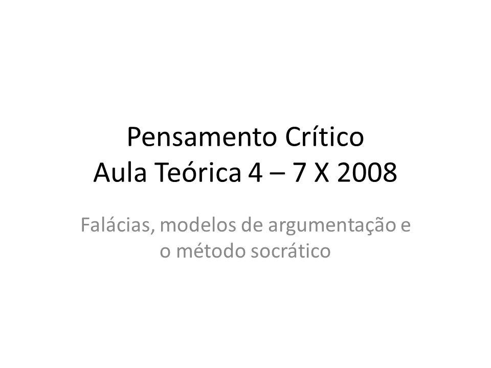 Pensamento Crítico Aula Teórica 4 – 7 X 2008 Falácias, modelos de argumentação e o método socrático