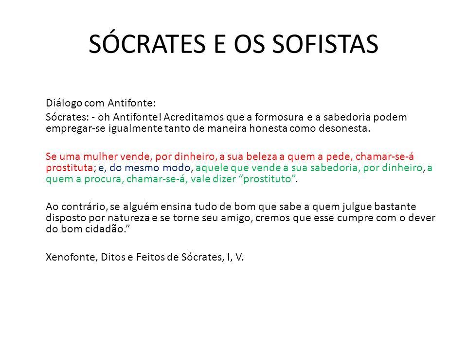 SÓCRATES E OS SOFISTAS Diálogo com Antifonte: Sócrates: - oh Antifonte.