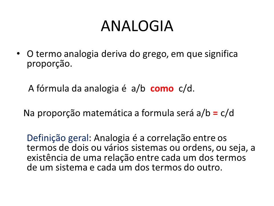 ANALOGIA O termo analogia deriva do grego, em que significa proporção.