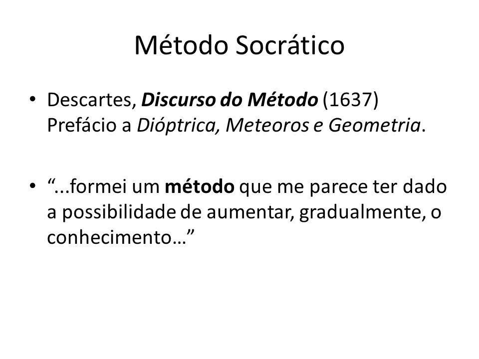 Método Socrático Descartes, Discurso do Método (1637) Prefácio a Dióptrica, Meteoros e Geometria....formei um método que me parece ter dado a possibilidade de aumentar, gradualmente, o conhecimento…