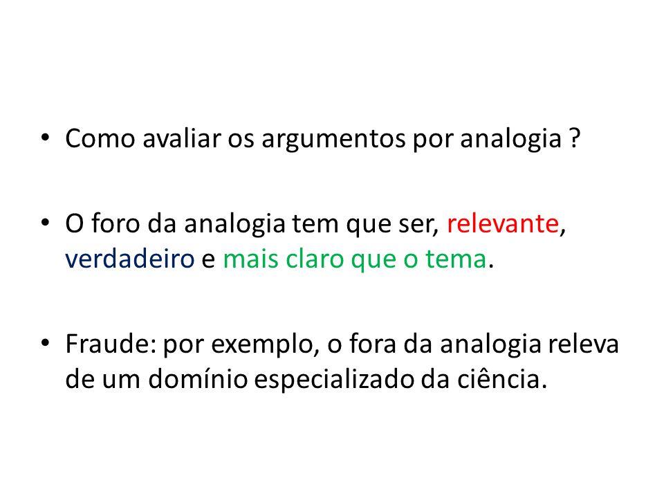 Como avaliar os argumentos por analogia .