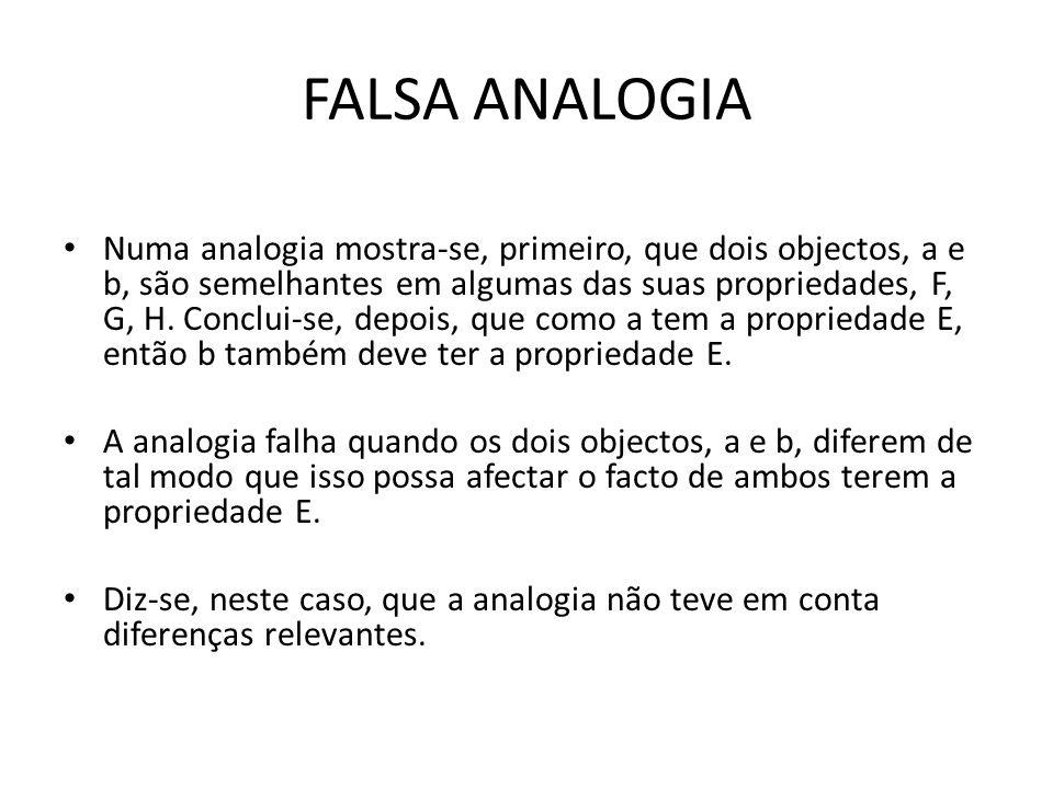 FALSA ANALOGIA Numa analogia mostra-se, primeiro, que dois objectos, a e b, são semelhantes em algumas das suas propriedades, F, G, H.