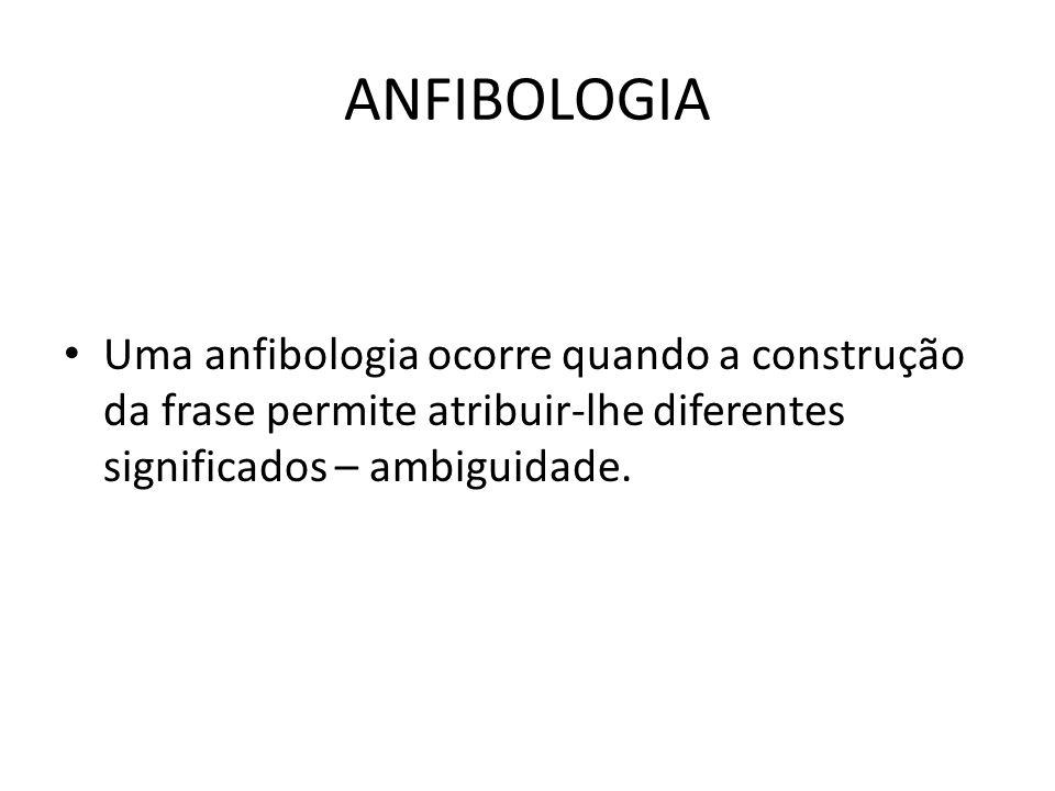 ANFIBOLOGIA Uma anfibologia ocorre quando a construção da frase permite atribuir-lhe diferentes significados – ambiguidade.