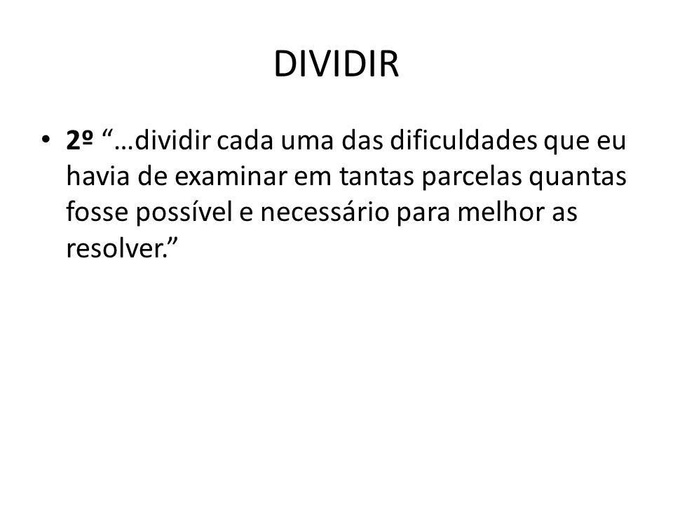 DIVIDIR 2º …dividir cada uma das dificuldades que eu havia de examinar em tantas parcelas quantas fosse possível e necessário para melhor as resolver.