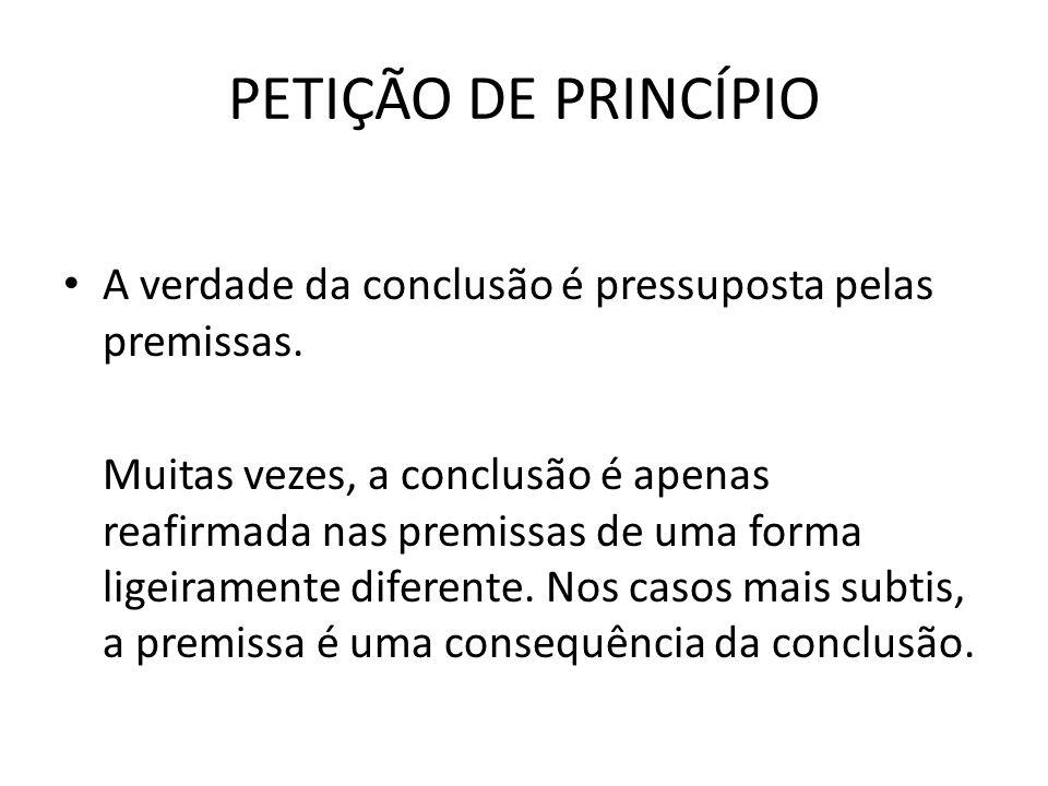 PETIÇÃO DE PRINCÍPIO A verdade da conclusão é pressuposta pelas premissas.