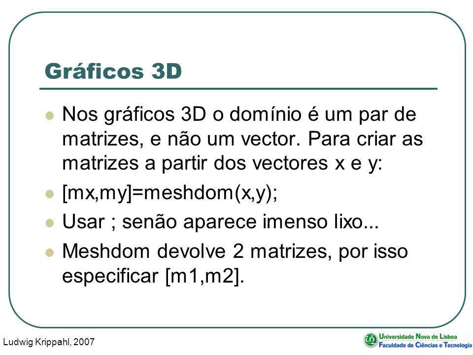 Ludwig Krippahl, 2007 59 Gráficos 3D Nos gráficos 3D o domínio é um par de matrizes, e não um vector.
