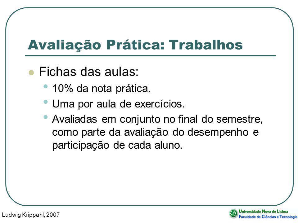 Ludwig Krippahl, 2007 6 Avaliação Prática: Trabalhos Fichas das aulas: 10% da nota prática.