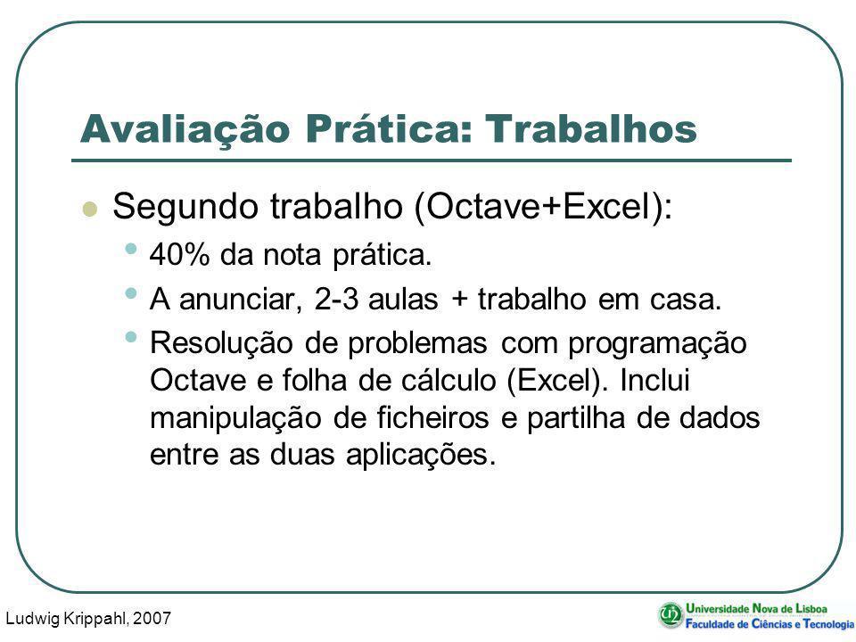 Ludwig Krippahl, 2007 9 Avaliação Prática: Trabalhos Segundo trabalho (Octave+Excel): 40% da nota prática.