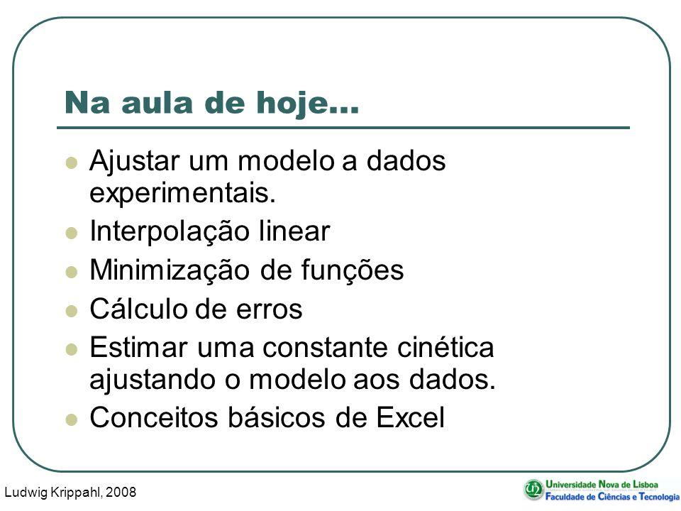 Ludwig Krippahl, 2008 2 Na aula de hoje... Ajustar um modelo a dados experimentais.