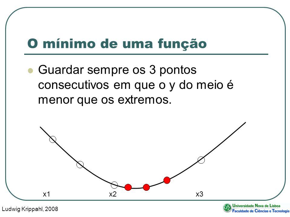Ludwig Krippahl, 2008 32 O mínimo de uma função Guardar sempre os 3 pontos consecutivos em que o y do meio é menor que os extremos.