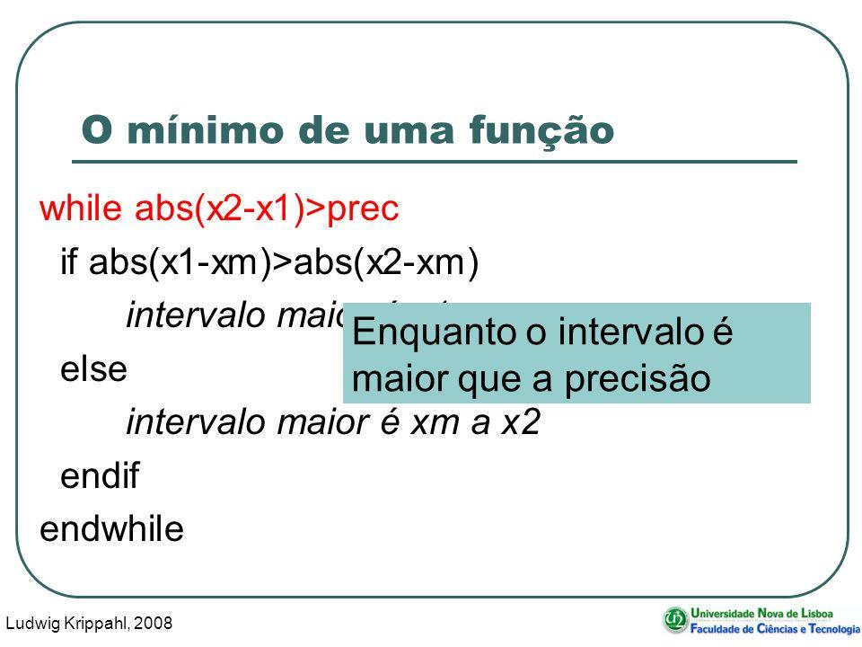 Ludwig Krippahl, 2008 39 O mínimo de uma função while abs(x2-x1)>prec if abs(x1-xm)>abs(x2-xm) intervalo maior é x1 a xm else intervalo maior é xm a x2 endif endwhile Enquanto o intervalo é maior que a precisão