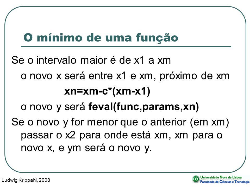 Ludwig Krippahl, 2008 42 O mínimo de uma função Se o intervalo maior é de x1 a xm o novo x será entre x1 e xm, próximo de xm xn=xm-c*(xm-x1) o novo y será feval(func,params,xn) Se o novo y for menor que o anterior (em xm) passar o x2 para onde está xm, xm para o novo x, e ym será o novo y.