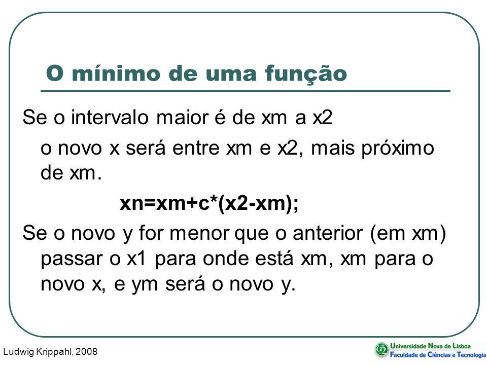 Ludwig Krippahl, 2008 45 O mínimo de uma função Se o intervalo maior é de xm a x2 o novo x será entre xm e x2, mais próximo de xm.