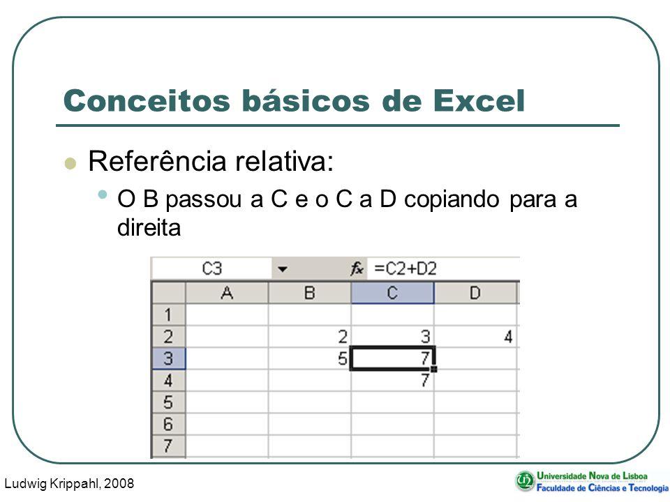 Ludwig Krippahl, 2008 52 Conceitos básicos de Excel Referência relativa: O B passou a C e o C a D copiando para a direita